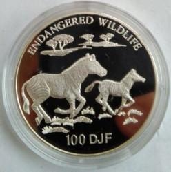Moneta > 100franchi, 1994 - Gibuti  (Fauna in via di estinzione - Zebre) - reverse