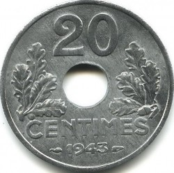 Coin > 20centimes, 1941-1944 - France  - reverse