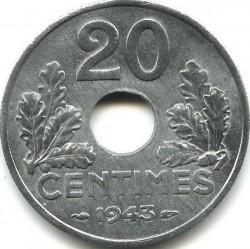 Кованица > 20центи, 1941-1944 - Француска  - reverse