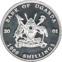 Moneta > 1000szylingów, 2001 - Uganda  (Wielka piątka w kolorze - Słoń) - obverse