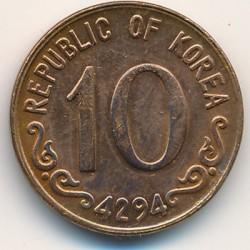 Coin > 10hwan, 1959-1961 - South Korea  - obverse