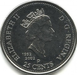 Coin > 25 cents, 2002 - Canada  (Canada Day - Maple Leaf) - obverse