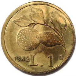 Coin > 1lira, 1946 - Italy  - reverse