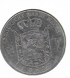 Moneda > 2francs, 1887 - Bèlgica  - obverse