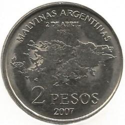 Монета > 2песо, 2007 - Аргентина  (25 лет оккупации Фолклендских островов) - reverse