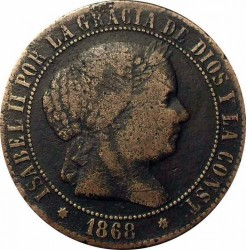 Coin > 2½ céntimos, 1865-1868 - Spain  - obverse