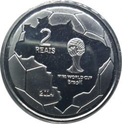 Moneta > 2reale, 2014 - Brazylia  (Mundial 2014 - Przyjęcie piłki na klatkę piersiową) - reverse