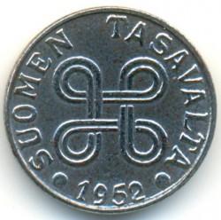 Münze > 5Mark, 1952 - Finnland  (Iron /grey color/) - obverse
