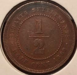 Moneta > ½centesimi, 1889 - Insediamenti dello Stretto  - obverse