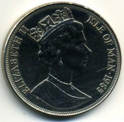 Moneta > 1korona, 1985 - Wyspa Man  (80 rocznica urodzin - Królowa Matka /Królowa Matka w podeszłym wieku/) - obverse