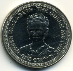 Moneta > 1korona, 1985 - Wyspa Man  (80 rocznica urodzin - Królowa Matka /Królowa Matka w podeszłym wieku/) - reverse