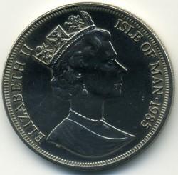 Moneta > 1korona, 1985 - Wyspa Man  (85 rocznica urodzin - Królowa Matka /Królowa Matka, Elżbieta i Małgorzata/) - obverse