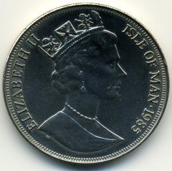 Moneda > 1corona, 1985 - Isla de Man  (85 aniversario - Nacimiento de la Reina Madre/Boda/) - obverse