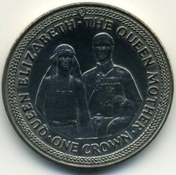 Moneda > 1corona, 1985 - Isla de Man  (85 aniversario - Nacimiento de la Reina Madre/Boda/) - reverse