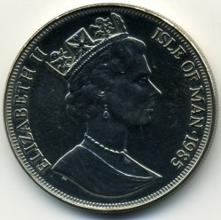 Coin > 1crown, 1985 - Isle of Man  (85th Anniversary - Birth of Queen Mother /King George VI and Queen Mother/) - obverse