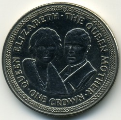 Coin > 1crown, 1985 - Isle of Man  (85th Anniversary - Birth of Queen Mother /King George VI and Queen Mother/) - reverse