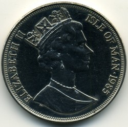 Moneta > 1 corona, 1985 - Isola di Man  (85th Anniversary - Birth of Queen Mother /Young Queen Mother/) - obverse