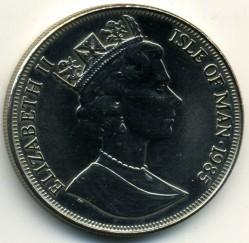 Moneta > 1korona, 1985 - Wyspa Man  (85 rocznica urodzin - Królowa Matka - /mała Elżbieta II/) - obverse
