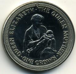 Moneta > 1korona, 1985 - Wyspa Man  (85 rocznica urodzin - Królowa Matka - /mała Elżbieta II/) - reverse