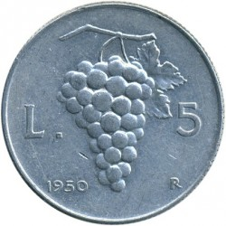 سکه > 5لیره, 1946-1950 - ایتالیا  - reverse